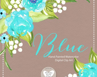 Watercolor Rose clipart, Blue flower clipart, Blue Flower, Leaf clipart,  Wedding Clip Art, wedding invitation, watercolor flower