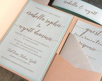 Peach Blush and Mint Green Wedding Invitation Suite, Wedding Invitation, Pocketfold Invitation, Modern, Peach, Blush Pink, Coral, Mint Green