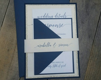 Navy Blue and Champagne wedding invitation suite, navy and gold wedding, Texture, Glitter invitation, modern, champagne wedding, s004