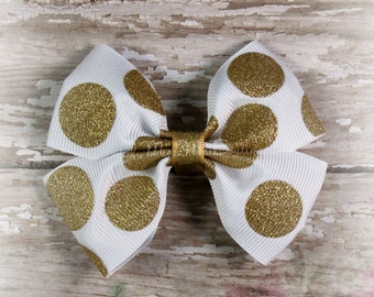 White and gold  polka dot bow | Gold Glitter Bow | White and gold  bow | Polka dot bow | Hair bow | Double Tuxedo Bow |