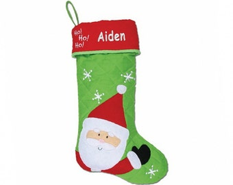 Personalized Ho, Ho, Ho Santa Quilted Christmas Stocking