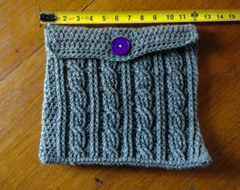 Gray Cable Stitch Crocheted Case