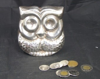 Vintage Galleon Silver Plated Owl Bank