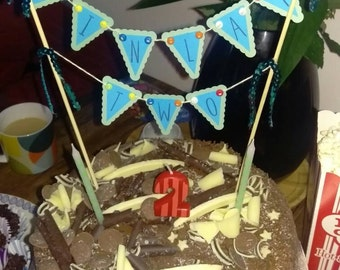 Handmade Birthday cake bunting, cake decoration