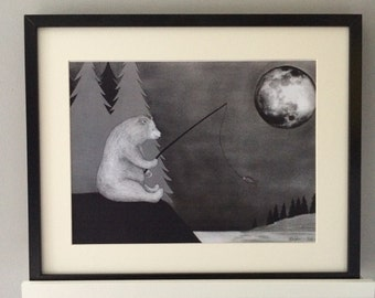 The Bear & the Moon, Art Print, hand drawn illustration
