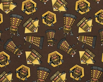 Doctor Who Dalek Exterminate on Brown / SC Doctor Who 15307  / Tardis Fabric / Dr Who by the Yard /  Yardage and Fat Quarters