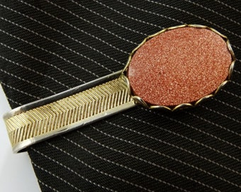 """Sparkly Goldstone Vintage Tie Clip Bar 1.5"""" Gold Tone Mens Jewelry"""