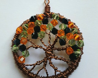 Swarovski Halloween/Fall Tree of Life Pendant