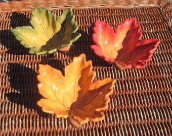 Set of 3 Bella Casa By Ganz Autumn Leaf Candy Dish/Bowls