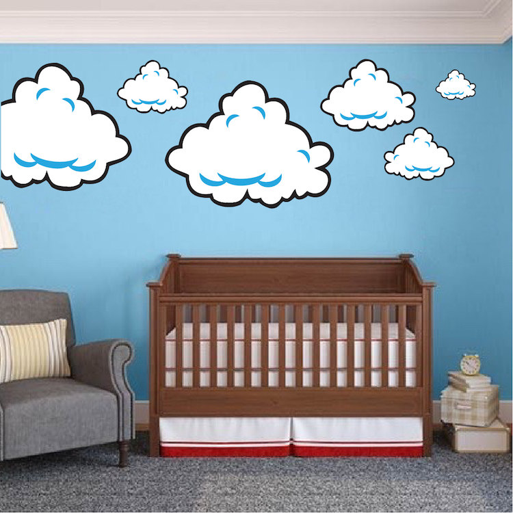 Super mario room cloud wall decal stickers bedroom cloud wall for Clouds wall mural