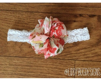 Baby lace headband // flower bow