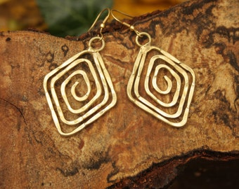 Hammered Wire Spiral Brass Earring