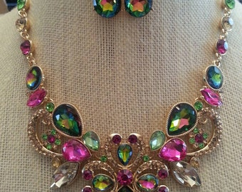 Stunning Fuchsia Pink and Mystic Green Topaz  Rhinestone Statement Necklace and Earring Set