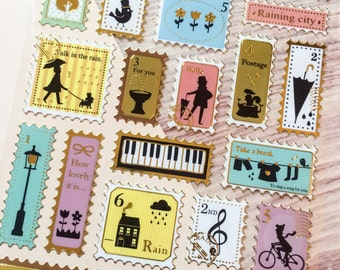 Stamp Stickers - Singing in the Rain