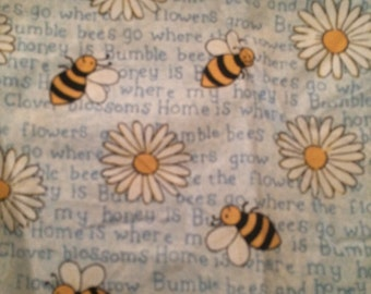 Blue Bumblebee & flower fabric