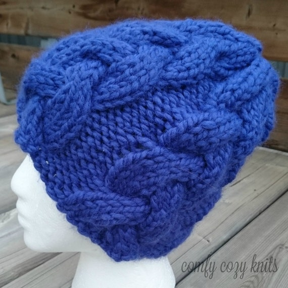 Knitting Pattern Hat With Button : Knitting PATTERN Braided Cable Button Beanie Cabled Hat