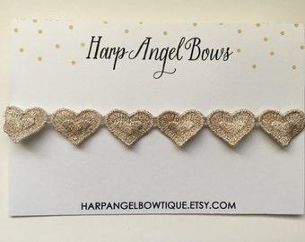 Gold Metallic Embroidered Heart Halo Headband Newborn / Baby / Girls Adult