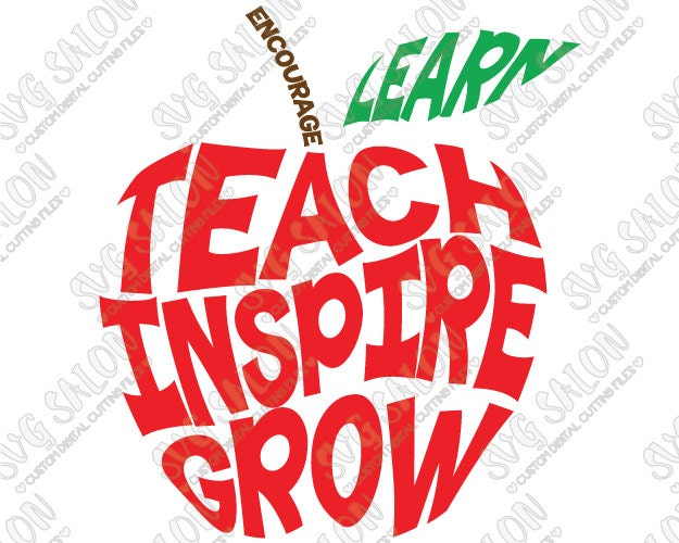 Teach Inspire Grow Apple Teacher / Student by SVGSalon on Etsy