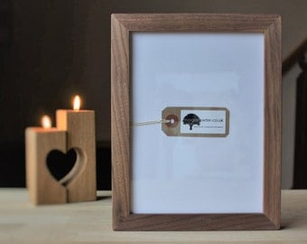 6x8 Walnut frame - Wood picture frame - for photos 8x6 custom wooden photo frames