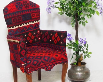 vintage Chesterfield sofa upholstered in an afghan Kilim 1 seater couch chair from Afghanistan 16-F