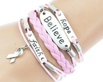Breast cancer infinity bracelet, breast cancer jewelry