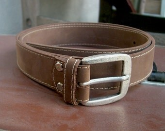Leather belt Distressed Leather belt Silver buckle