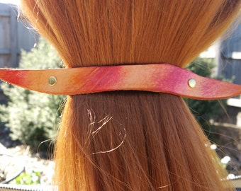 Leather French hair barrette, Handmade Tooled Leather Hair Clip, women Hair Accessory, orange red, hair fashion, leather Ponytail Holder