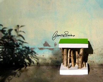 Konkrete Hocker Hocker Stühle Zement, Beton Und Holz Natur Serie Weiße