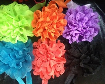 3 baby headbands for 12, multicoloured headbands, 3 headband special, carnation headband, baby flower headband, baby headband, newborn hair