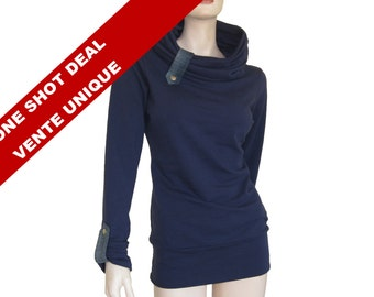 Sale only one, cowl neck sweatshirt, chunky funnel neck sweat, chuncky cowl, blue sweater.