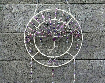Purple tree of life wall hanging / dreamcatcher.