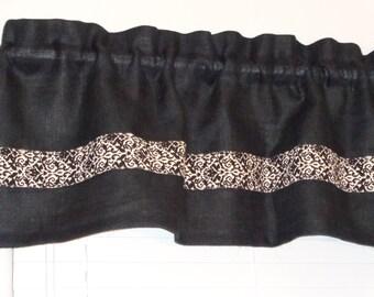 "Black Burlap Jute 16"" x 55"" Valance Curtain, 1.5"" Header, 2"" Rod Pocket, Off White/Black Damask Trim, Kitchen, Rustic, Country, Dorm"