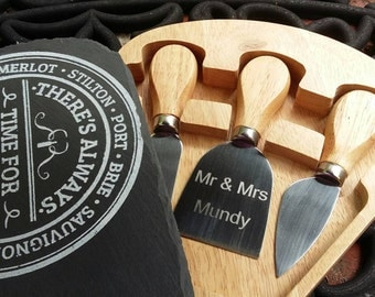 Slate Cheese Board Set/ There's always time for Cheese & Wine/ Engraved Knife