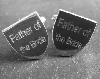 Engraved Silver Plated Shield Cufflinks