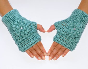 Mint green fingerless gloves, crochet fingerless gloves, womens gloves, winter gloves, hand warmers, fingerless mittens, wrist warmers