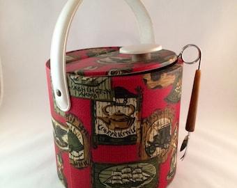 SALE - Vintage Ice Bucket with Prongs - Vintage Barware - Red Ice Bucket