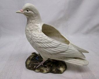 Vintage Napcoware Dove C-6567 White Bird Ceramic Flower Planter - Made in Japan