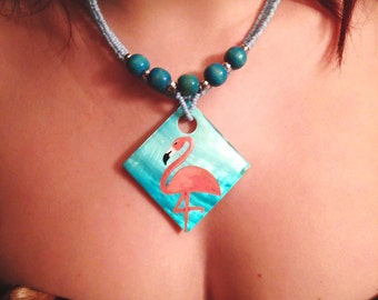 Turquoise flamingo rockabilly necklace