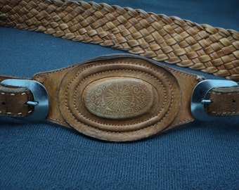 Vintage Leather Chain Belt. a very rare female belt. Poland 1950 - 1960. brown leather belt.