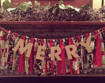 Christmas Garland/Christmas Decor/Christmas Mantel/Merry Bunting/Merry/Merry Decor