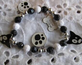 Doggie Charm Beaded Stretch Bracelet, Birthday Gift,Doggie Charm Bracelet, Dog Bracelet, Gifts for her, Beaded Bracelet