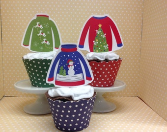 Christmas Ugly Sweater Party Cupcake Topper Decorations - Set of 10