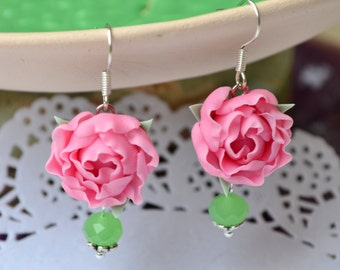 Pink peonies earrings. Pink flower earrings. Peony jewelry. Tender earrings. Polymer clay flower earrings