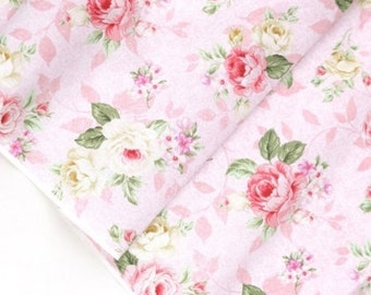 Fabric Big Roses shabby chic Pink Blue Floral Flower Fabric by the yard #268