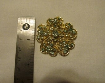 Vintage Gold Toned  Lime and Aqua Flower Broach