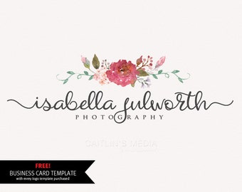 Photography logo design - Watercolor logo - flower wreath logo - photography watermark Logo - DIY psd logo script font included