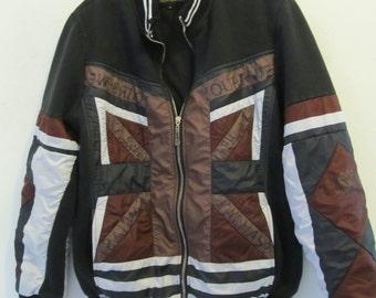 A Neat 90's Black & Brown AVANTE GARDE era Zip Front Sweatshirt.L