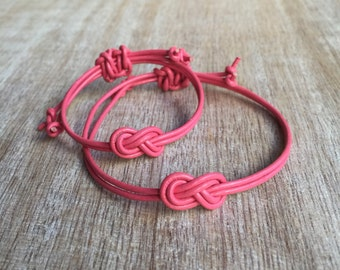 Pink Mommy and Me Bracelets, Mother and Daughter Bracelets, Kids Bracelet, Leather Matching Bracelets, Infinity Mom and Me  LM001233