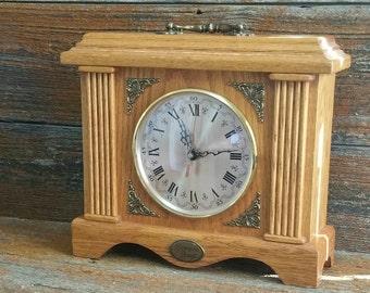 Vintage Oak Mantle Clock, Tempus Fugit Clock, Battery Powered Mantle Clock, Vintage Clock