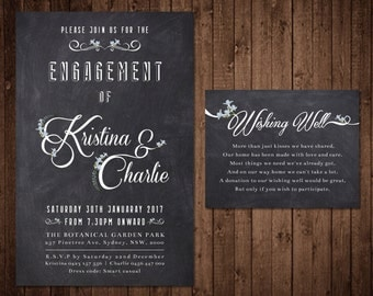 Engagement Invitation and Wishing Well - Custom Digital File